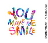 you make me smile. motivation...   Shutterstock .eps vector #715880050