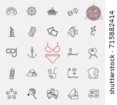 summer time thin line web icons ... | Shutterstock .eps vector #715882414