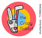 crazy rabbit vector icon art...