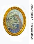 golden frame mirror vintage... | Shutterstock . vector #715882900