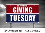 giving tuesday   road sign | Shutterstock . vector #715889569