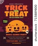 halloween poster design. trick... | Shutterstock .eps vector #715889800