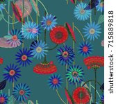blue space flowers and red... | Shutterstock . vector #715889818