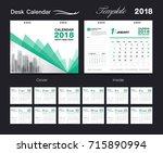 set desk calendar 2018 template ... | Shutterstock .eps vector #715890994