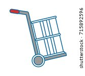 delivery cart with barrel | Shutterstock .eps vector #715892596
