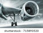 fire engine of an aircraft | Shutterstock . vector #715893520