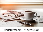 business objects in the office...   Shutterstock . vector #715898350
