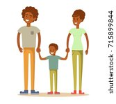 happy family. father  mother... | Shutterstock .eps vector #715899844