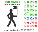 guide man with flag pictograph... | Shutterstock .eps vector #715903810