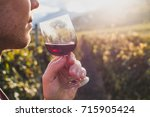 man tasting red wine in wineyard | Shutterstock . vector #715905424
