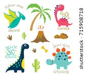 Stock vector cute vector dinosaurs isolated on white background dinosaur footprint volcano palm tree stones 715908718