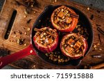 autumn food recipes. baked... | Shutterstock . vector #715915888