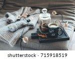 still life details of living... | Shutterstock . vector #715918519