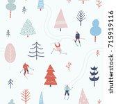 people skiing in the winter... | Shutterstock .eps vector #715919116