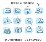 set with different business and ... | Shutterstock .eps vector #715919890