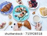 morning breakfast with italian... | Shutterstock . vector #715928518
