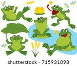 vector set with cute funny... | Shutterstock .eps vector #715931098