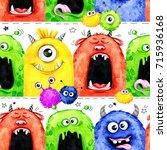 watercolor seamless pattern... | Shutterstock . vector #715936168