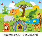 vector set with cartoon safari... | Shutterstock .eps vector #715936678