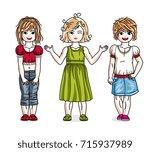 different little girls cute... | Shutterstock .eps vector #715937989