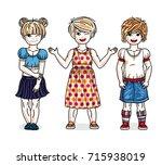 cute little girls group... | Shutterstock .eps vector #715938019