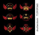 imperial crowns and vintage... | Shutterstock .eps vector #715939360