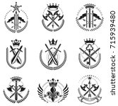 vintage weapon emblems set.... | Shutterstock .eps vector #715939480