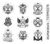 ancient keys emblems set.... | Shutterstock .eps vector #715940278