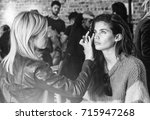 Small photo of NEW YORK, NY - September 11, 2017: Sara Sampaio prepares backstage for the Zadig & Voltaire Spring Summer 2018 fashion show during New York Fashion Week Women's