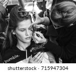 Small photo of NEW YORK, NY - September 11, 2017: Angel Rutledge prepares backstage for the Zadig & Voltaire Spring Summer 2018 fashion show during New York Fashion Week Women's