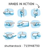 set with different hand icons... | Shutterstock .eps vector #715948750