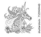 monochrome zentangle style... | Shutterstock .eps vector #715949440