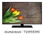 modern blank flat screen tv set ... | Shutterstock . vector #715955590