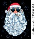 cartoon portrait of cool santa... | Shutterstock .eps vector #715957504