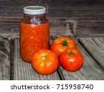 canned and whole garden fresh...   Shutterstock . vector #715958740