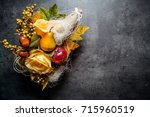 autumn decoration. place for... | Shutterstock . vector #715960519