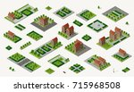 retro isometric country house | Shutterstock . vector #715968508
