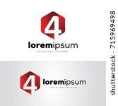 number 4 media logo template... | Shutterstock .eps vector #715969498