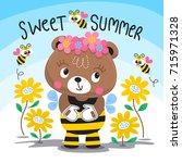 cute baby teddy bear in bee... | Shutterstock .eps vector #715971328