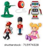 sticker design with different... | Shutterstock .eps vector #715974328