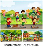 many children doing things in... | Shutterstock .eps vector #715976086