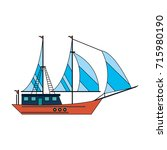 ship with sails icon image  | Shutterstock .eps vector #715980190