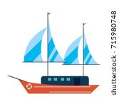 ship with sails icon image  | Shutterstock .eps vector #715980748