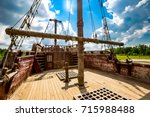 deck of the old ship and the... | Shutterstock . vector #715988488