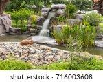 dreamy waterfall and rocks ... | Shutterstock . vector #716003608