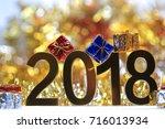 golden 2018 3d digital icon... | Shutterstock . vector #716013934