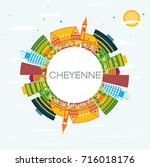 cheyenne skyline with color... | Shutterstock .eps vector #716018176