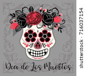 dia de los muertos. day of the... | Shutterstock .eps vector #716037154
