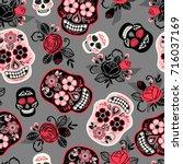 dia de los muertos. day of the... | Shutterstock .eps vector #716037169