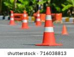 traffic cones in driving school | Shutterstock . vector #716038813